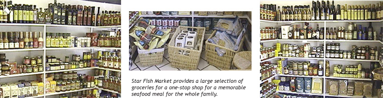 Extensive array of hard to find groceries for your seafood dinner!